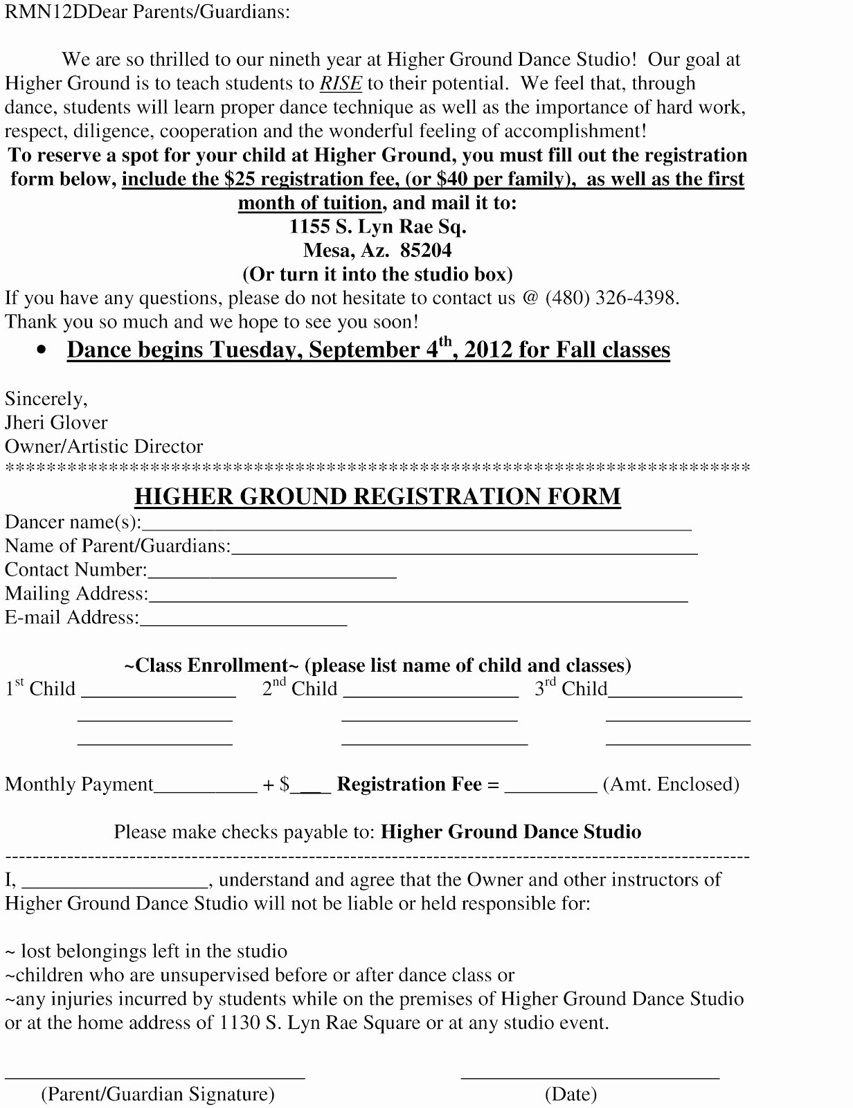 Dance Registration form Template Beautiful Higher Ground Dance Studio Registration form and Dance