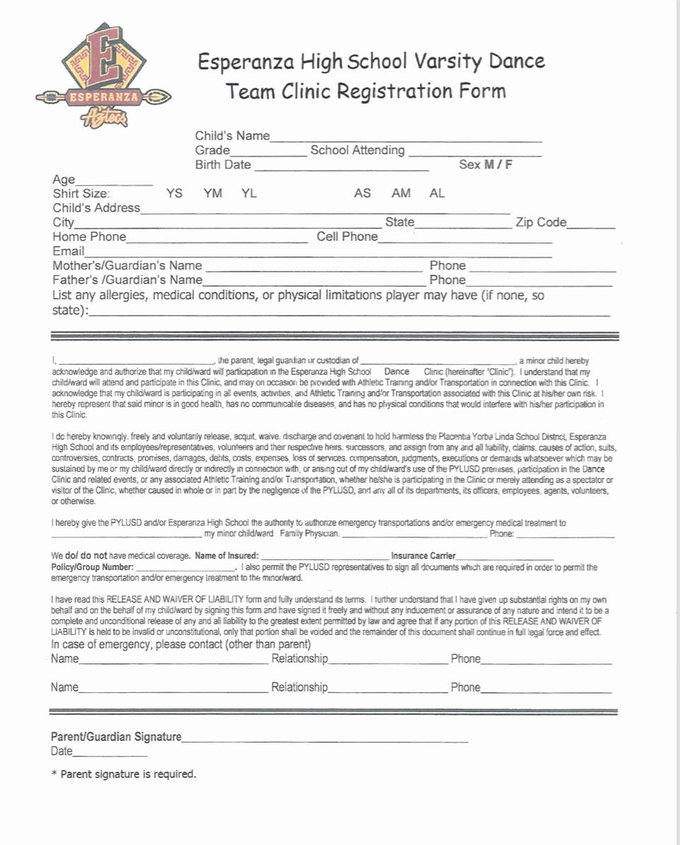 Dance Registration form Template Best Of Dance Clinic Esperanza Varsity Dance Team