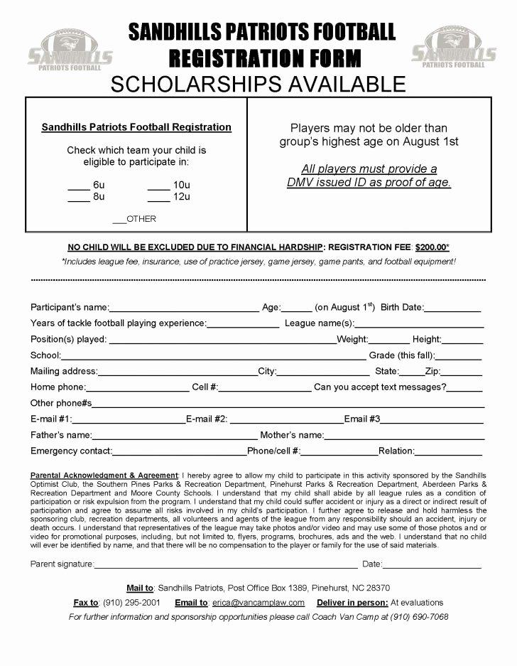 Dance Registration form Template Best Of form Team Registration form