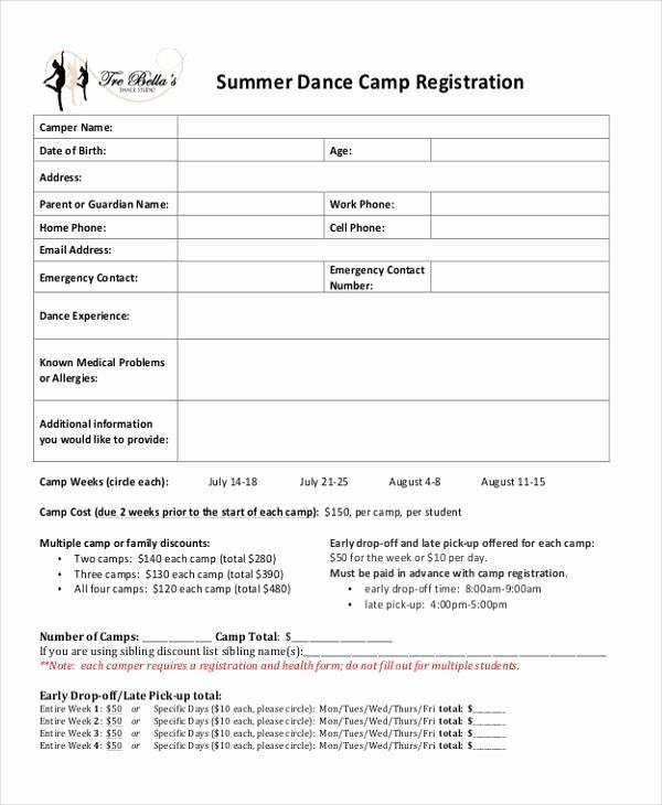 Dance Registration form Template Elegant Dance School Registration form Template Free 10 Summer