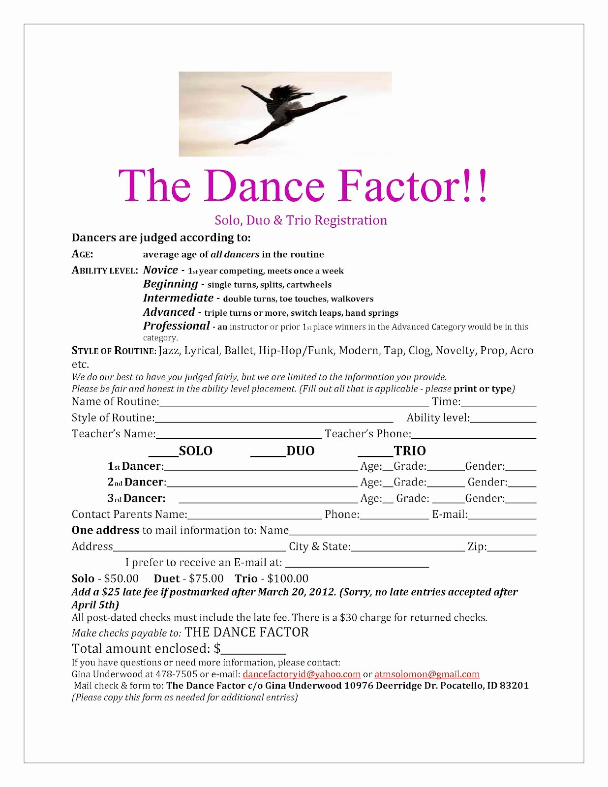 Dance Registration form Template Elegant Eagle Rock Dance Dance Factor solo Registration form