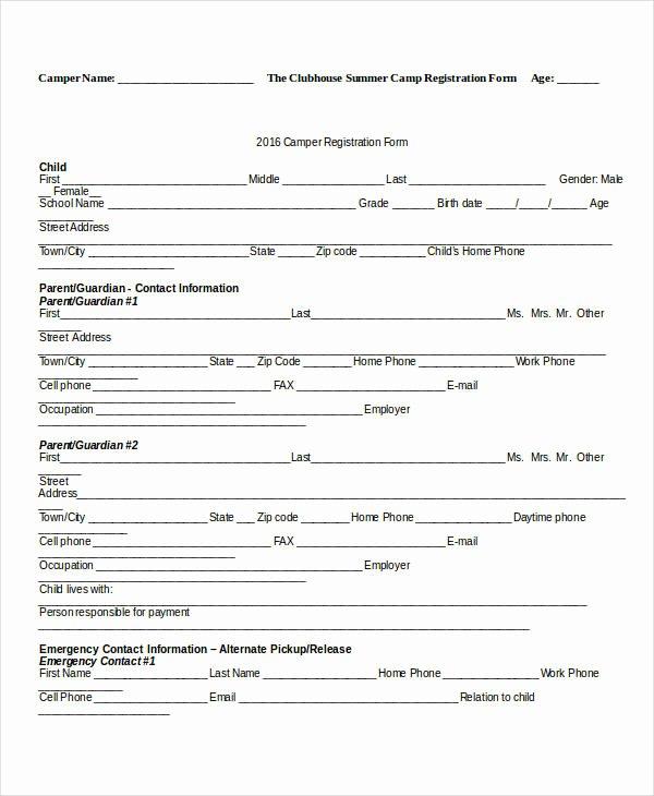 Dance Registration form Template Elegant Registration form Template 9 Free Pdf Word Documents