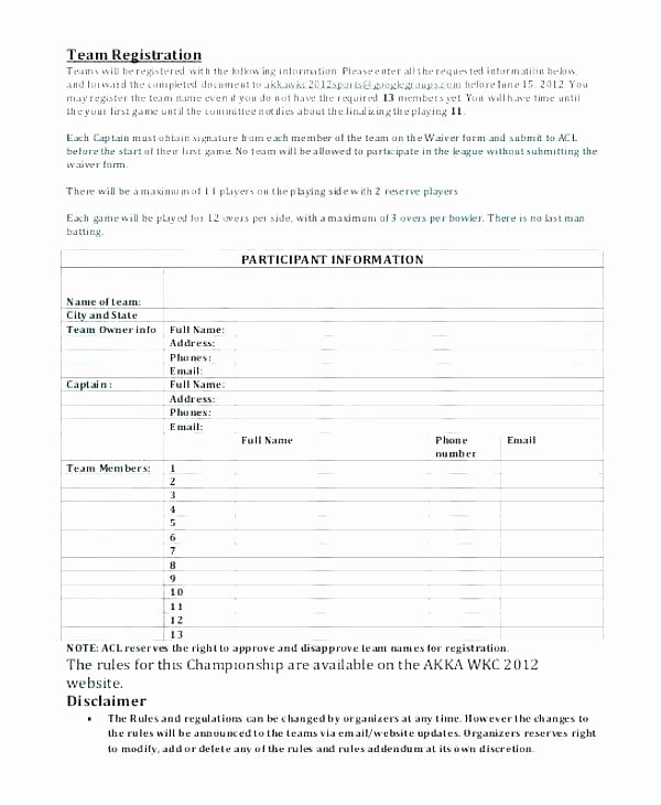 Dance Registration form Template Elegant Team Registration form Template event Registration form