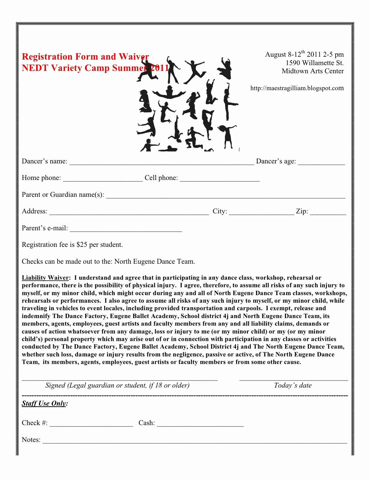 Dance Registration form Template Fresh Nedt Variety Sampler Dance Camp Ing Up