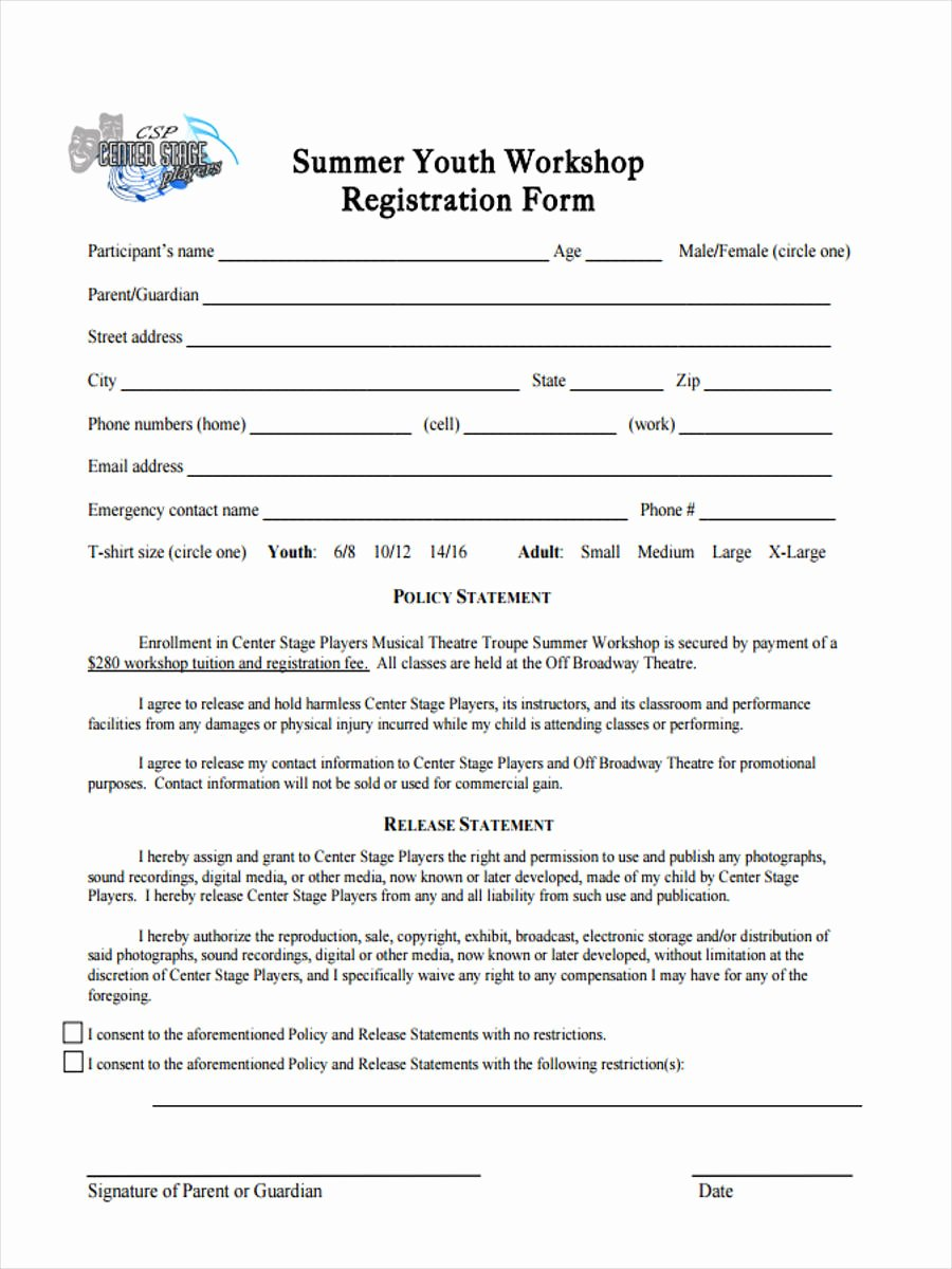 Dance Registration form Template Inspirational 10 Workshop Registration forms Free Sample Example