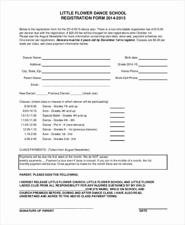 Dance Registration form Template Inspirational Registration form Template 9 Free Pdf Word Documents
