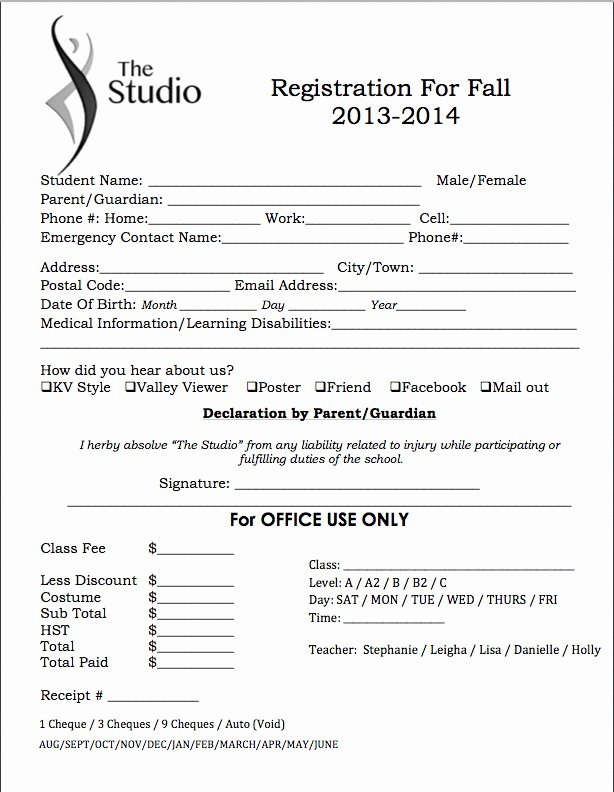 Dance Registration form Template Lovely 2014 Schedules & forms the Studio Dance School