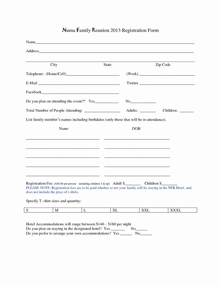 Dance Registration form Template Lovely Family Reunion Registration form Template