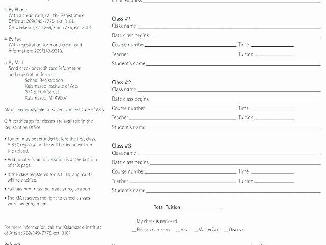 Dance Registration form Template Luxury Class Registration Template Class Reunion Registration