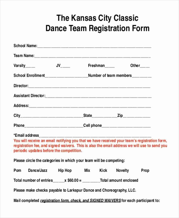 Dance Registration form Template Luxury Dance Team Contract Template Templates Resume Examples