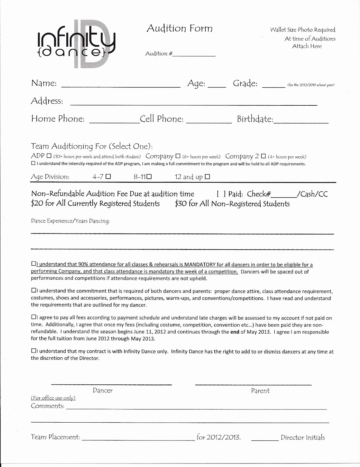 Dance Registration form Template New Audition form