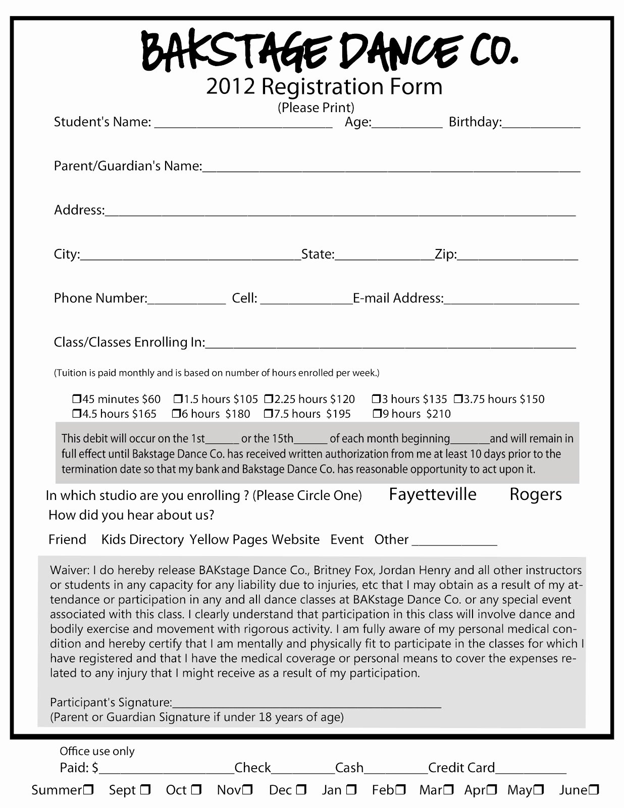 Dance Registration form Template New Luxury Printable Registration form Template