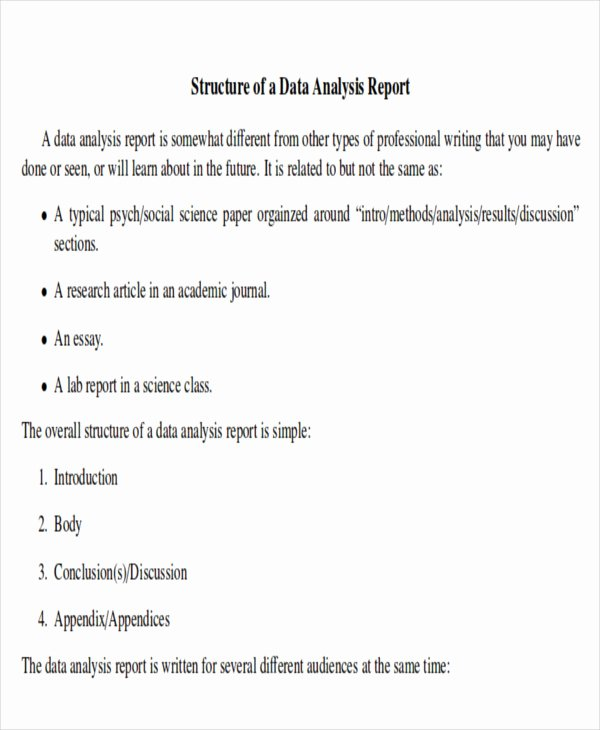 Data Analysis Report Template Awesome 41 Report format Samples