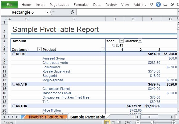 Data Analysis Report Template Awesome Sample Pivottable Report for Excel