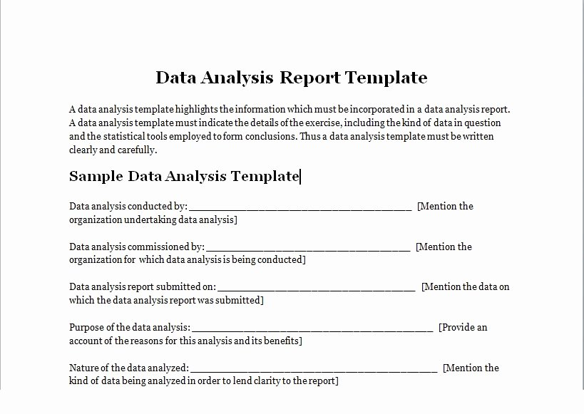 Data Analysis Report Template Fresh Data Analysis Report Template Excel Tmp