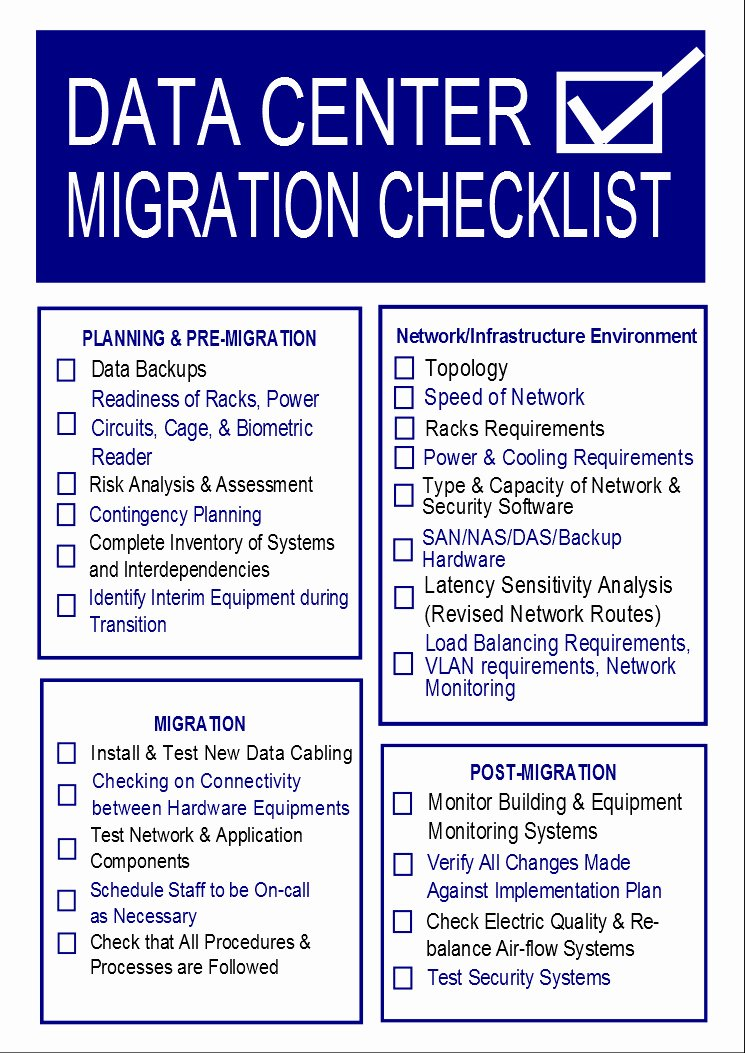 Data Migration Plan Template Awesome Data Center Migration Checklist Template Templates