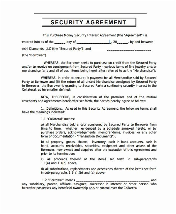 Data Security Agreement Template Awesome 10 Security Agreement form Samples Free Sample Example