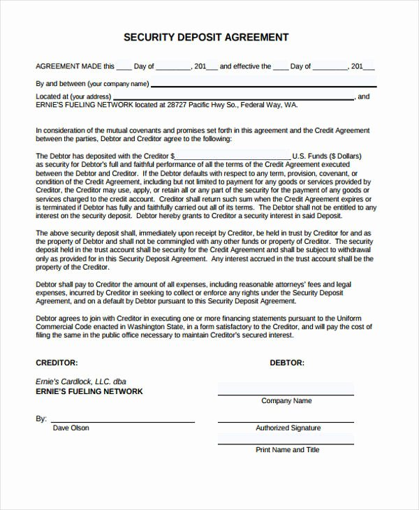 Data Security Agreement Template Best Of 11 Deposit Agreement Templates Pdf Word