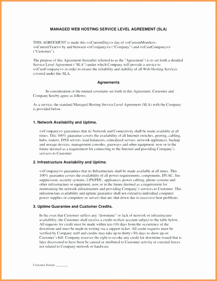 Data Security Agreement Template Elegant Information Security Service Level Agreement Template