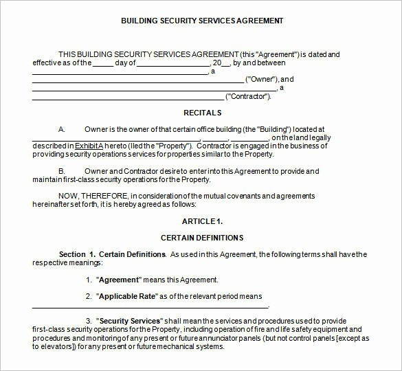Data Security Agreement Template Fresh 9 Security Contract Samples and Templates – Pdf Word