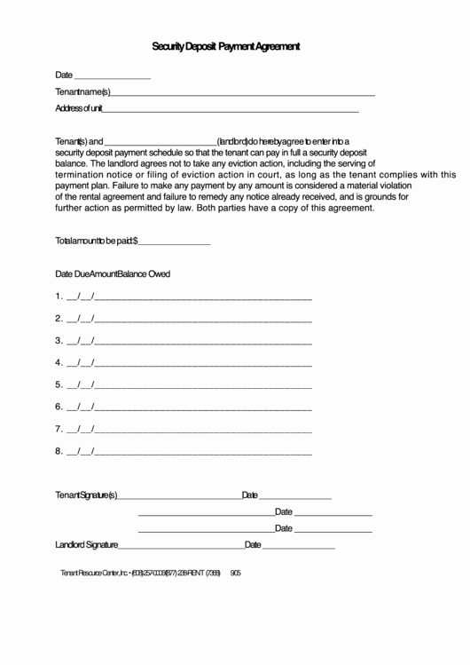 Data Security Agreement Template Fresh Security Deposit Payment Agreement Template Printable Pdf