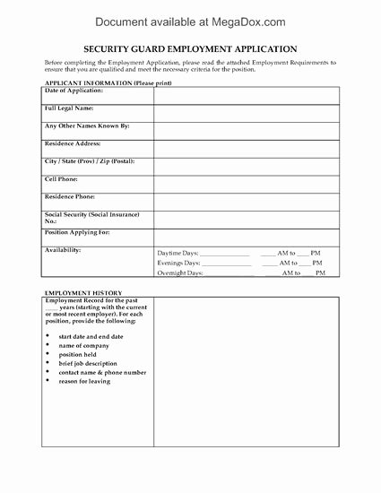 Data Security Agreement Template Fresh Security Guard Employment Application form