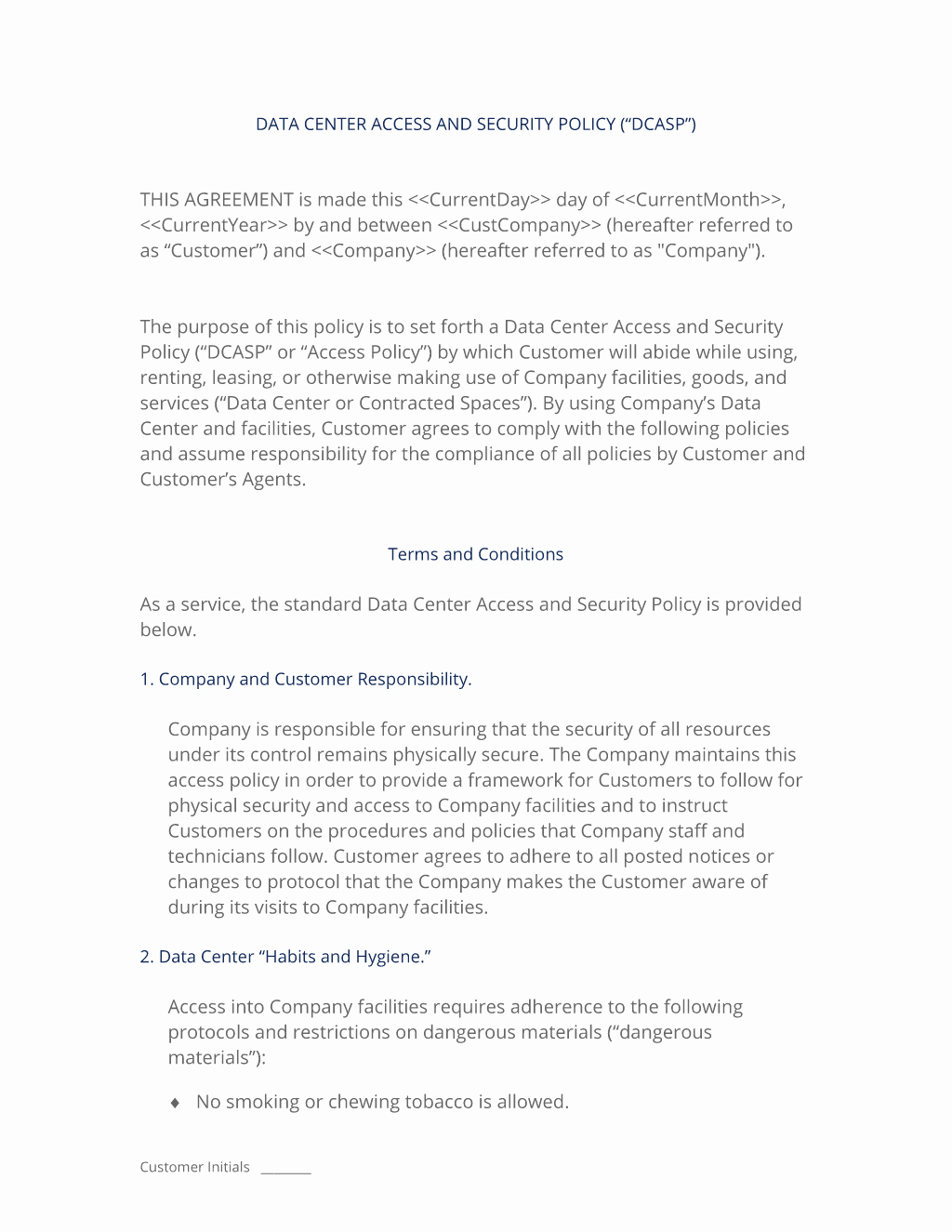 Data Security Agreement Template Inspirational Data Center Access and Security Policy Template 3 Easy Steps