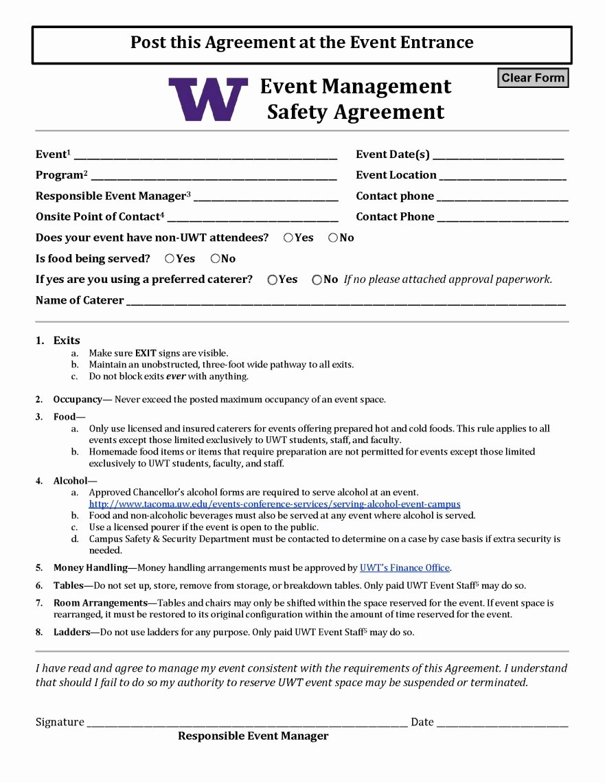 Data Security Agreement Template Inspirational event Management Safety Agreement