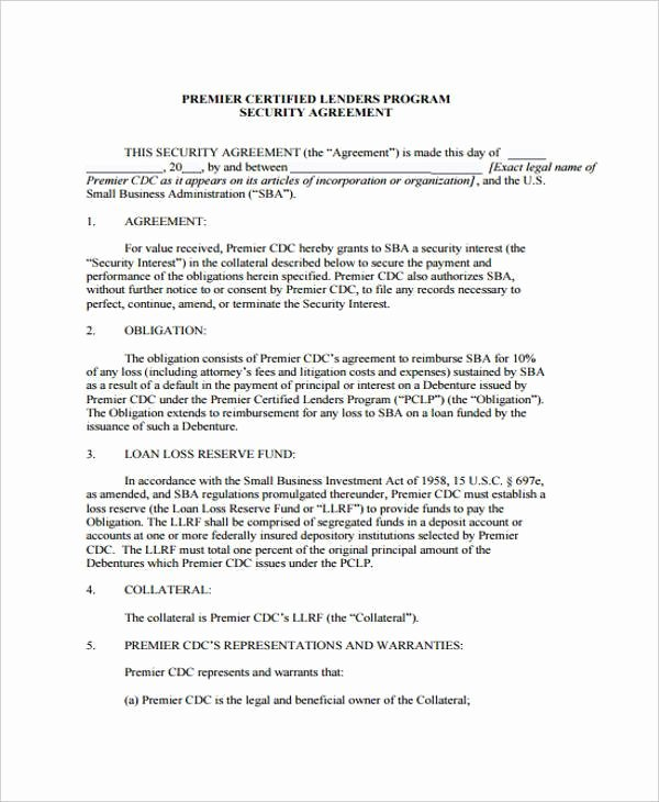 Data Security Agreement Template Inspirational Loan and Security Agreement Template Addendum to Contract