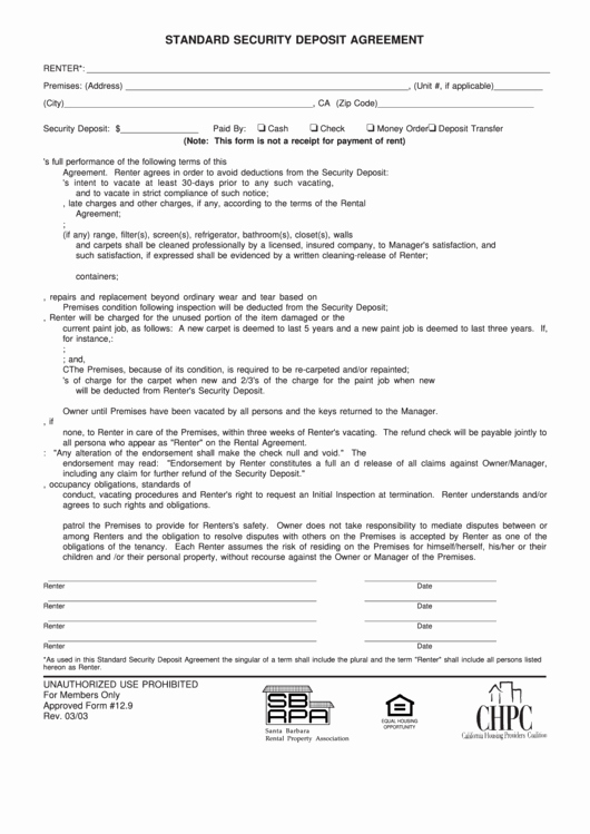 Data Security Agreement Template Inspirational top 13 Security Deposit Agreement form Templates Free to
