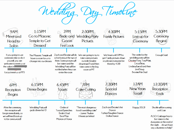 Day Of Wedding Timeline Template Awesome Wedding Day Timeline