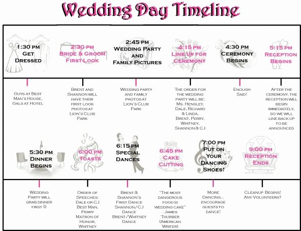 Day Of Wedding Timeline Template Best Of Wedding Day Timeline