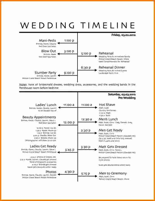 Day Of Wedding Timeline Template Fresh 5 Wedding Day Schedule Template