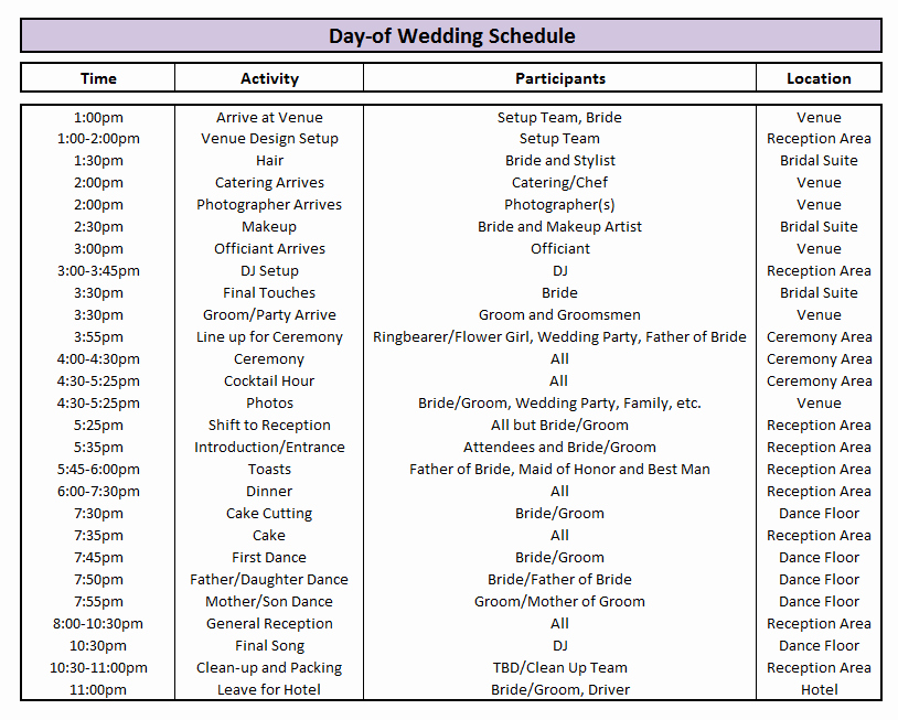 Day Of Wedding Timeline Template Fresh Day Of Wedding Schedule Great Tips for Planning Out Your