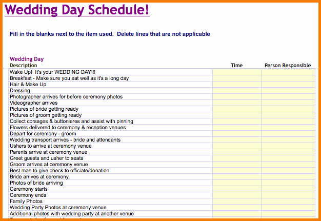 Day Of Wedding Timeline Template Fresh Wedding Day Schedule Template