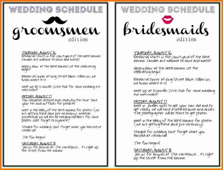 Day Of Wedding Timeline Template New 5 Wedding Day Schedule Template