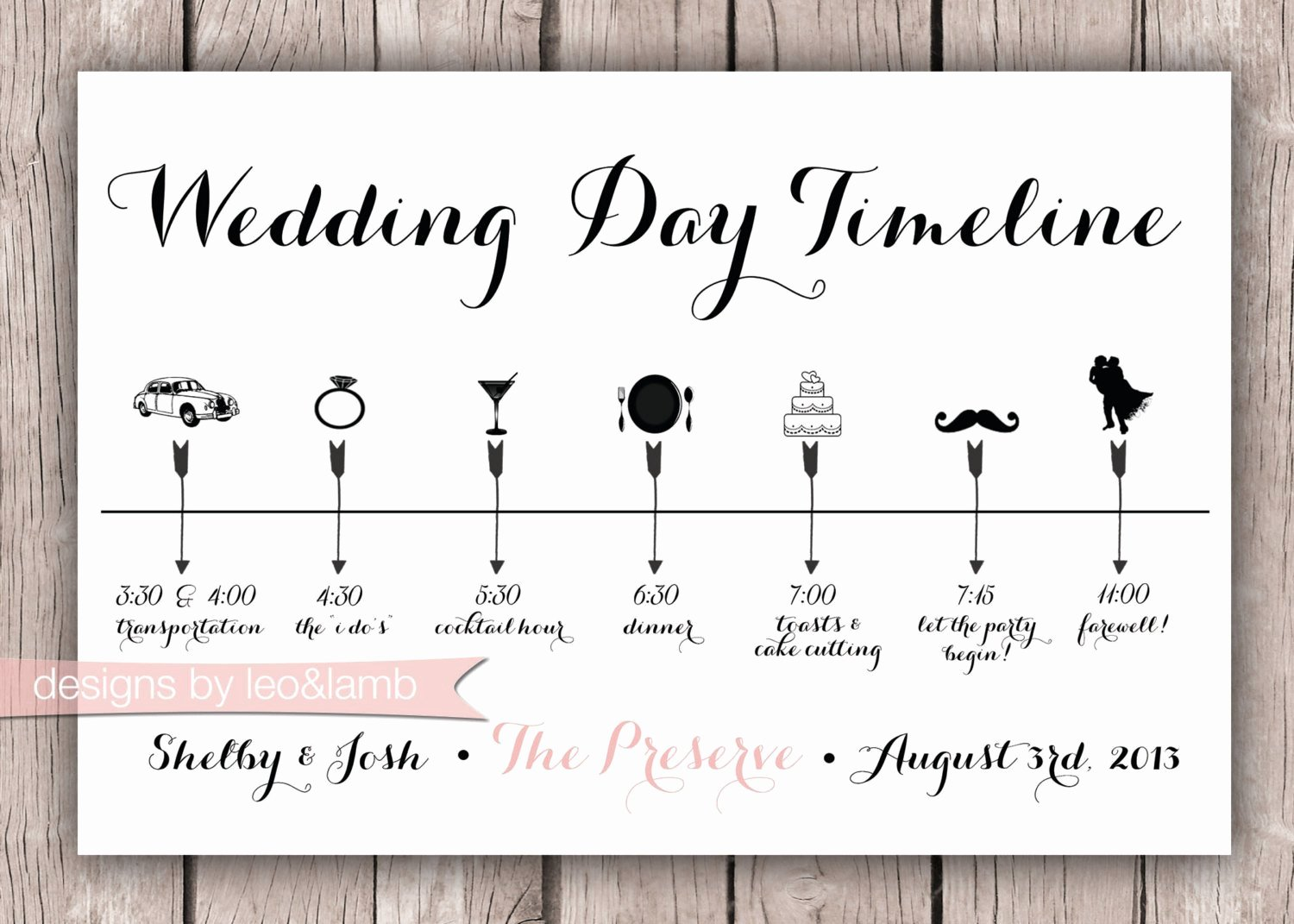 Day Of Wedding Timeline Template Unique Custom Wedding Timeline 5x7 Digital File