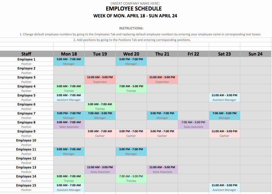 Daycare Staff Schedule Template Awesome Employee Schedule Template In Excel and Word format