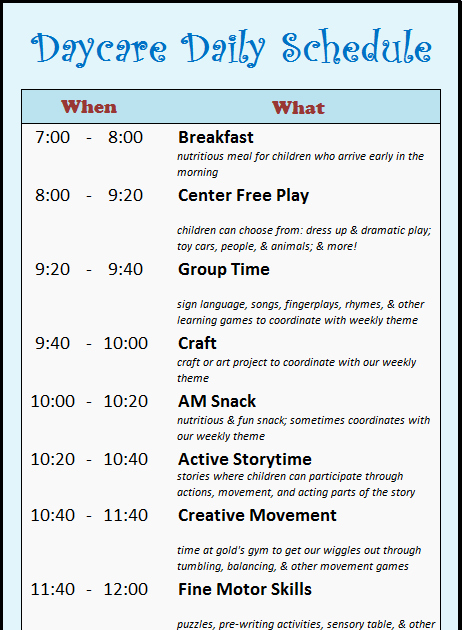 Daycare Staff Schedule Template Beautiful Learning Zone Daycare Schedule