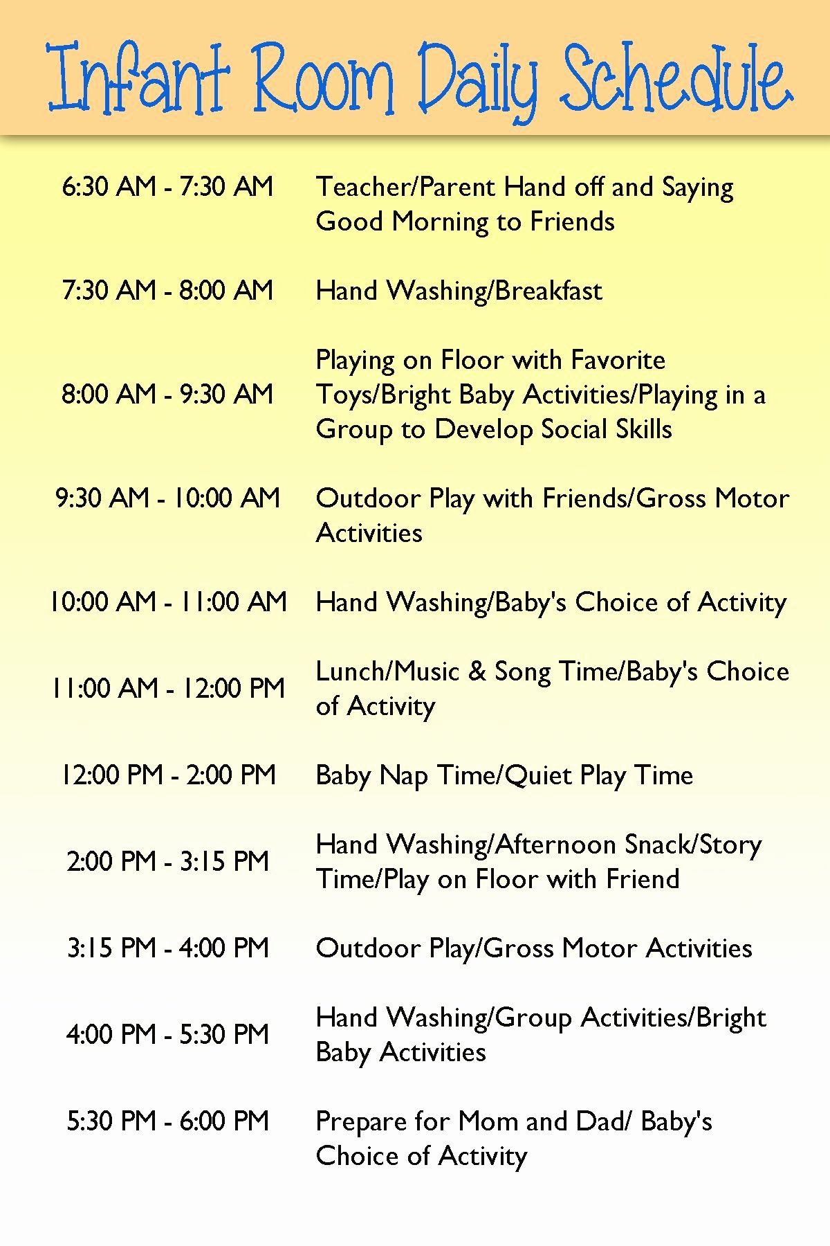 Daycare Staff Schedule Template Inspirational Infant Day Care Schedule Infants