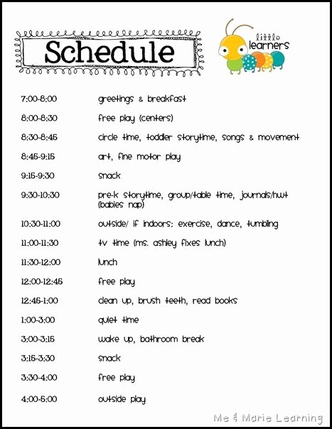 Daycare Staff Schedule Template Lovely Best 25 Home Daycare Schedule Ideas On Pinterest