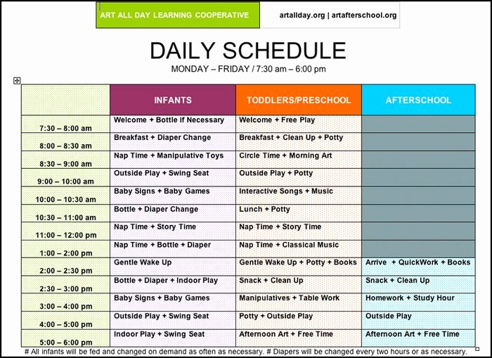 Daycare Staff Schedule Template New Of Preschool Daily Routines