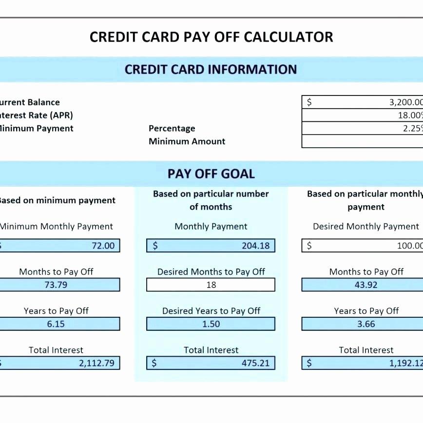 Debt Payment Plan Template Luxury Credit Card Calculator Spreadsheet Template