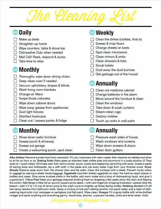 Deep Cleaning Checklist Template Awesome How to Thoroughly Clean A House Checklist the Most New