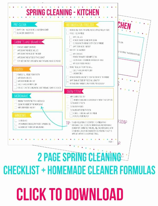 Deep Cleaning Checklist Template Awesome Kitchen Cleaning Checklist – Monstaah