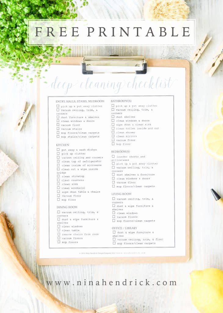 Deep Cleaning Checklist Template Elegant Free Printable Weekly Menu and Shopping List