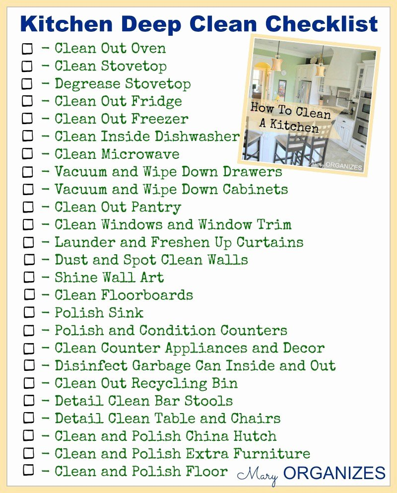 Deep Cleaning Checklist Template Fresh How to Clean the Kitchen or How Not to Be Gross