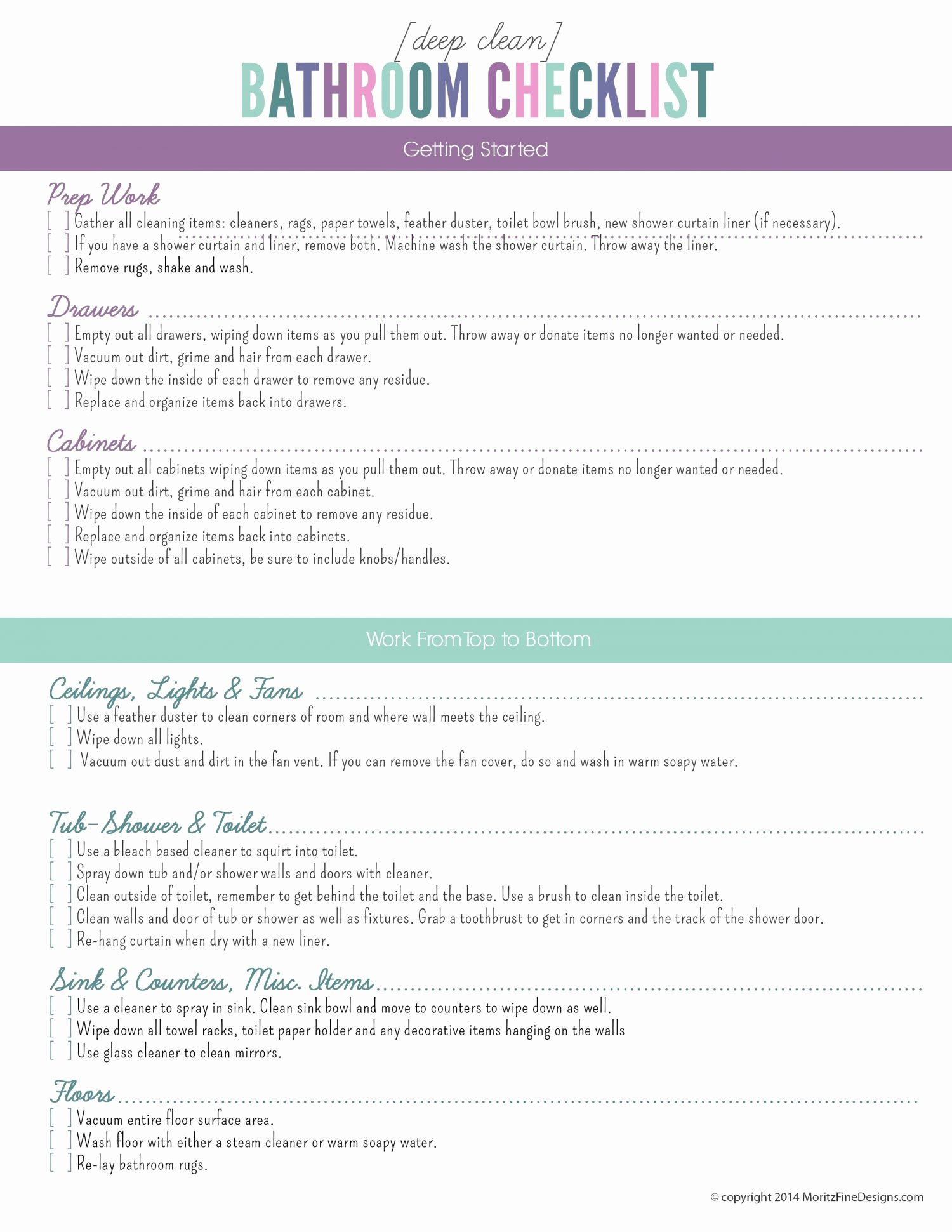 Deep Cleaning Checklist Template Inspirational Deep Clean the Bathroom Checklist
