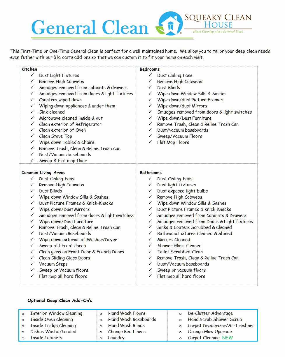 Deep Cleaning Checklist Template Inspirational General Cleaning Services – Squeaky Clean House Cleaning