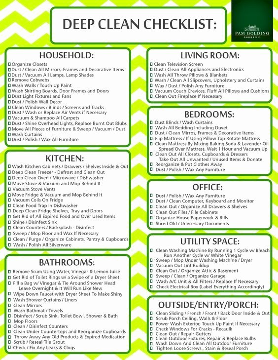 Deep Cleaning Checklist Template Lovely Easy Cleaning Schedule for Working Moms Women Fitness